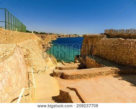 Sharm El Sheikh, Egypt - September 26, 2017: The view of luxury hotel Dreams Beach Resort Sharm 5 stars at Sharm El Sheikh, Egypt on September 26, 2017