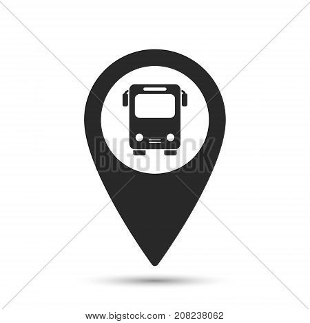 Simple map pointer with symbol bus station. For location maps. Mark icon. Sign for navigation. Index location on map. Pointer location. Vector isolated illustration.