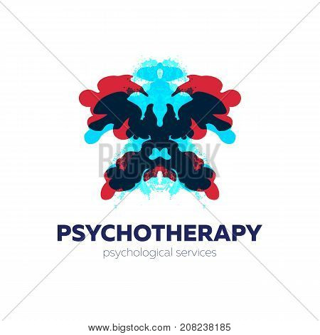 Psychotherapy and psychological services logo. Vector illustration with rorschach test inkblots