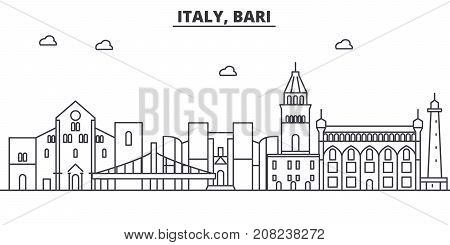 Italy, Bari architecture line skyline illustration. Linear vector cityscape with famous landmarks, city sights, design icons. Editable strokes