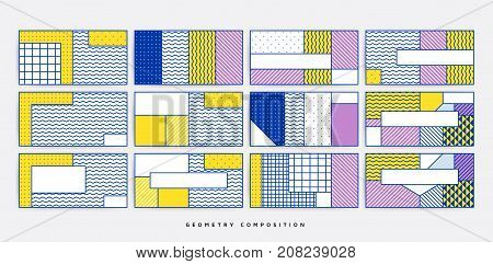 Colorful trend geometric horizontal patterns set juxtaposed with bright bold blocks of color zig zags, squiggles, erratic images. Design background, composition. Magazine, leaflet, banner