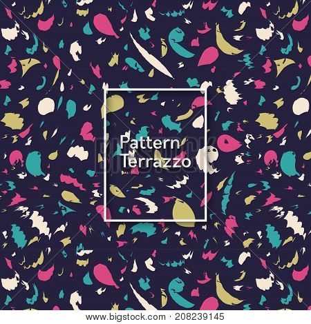 Vintage Terrazzo Seamless Pattern. Retro Background With Confetti Shape Elements. Abstract Trendy Po