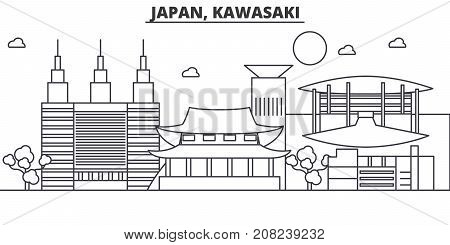 Japan, Kawasaki architecture line skyline illustration. Linear vector cityscape with famous landmarks, city sights, design icons. Editable strokes