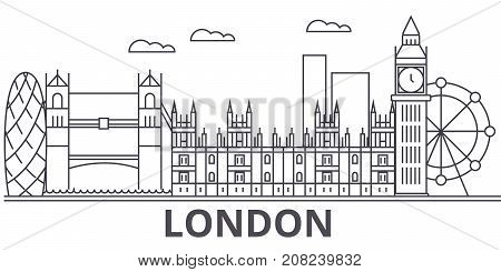 London architecture line skyline illustration. Linear vector cityscape with famous landmarks, city sights, design icons. Editable strokes