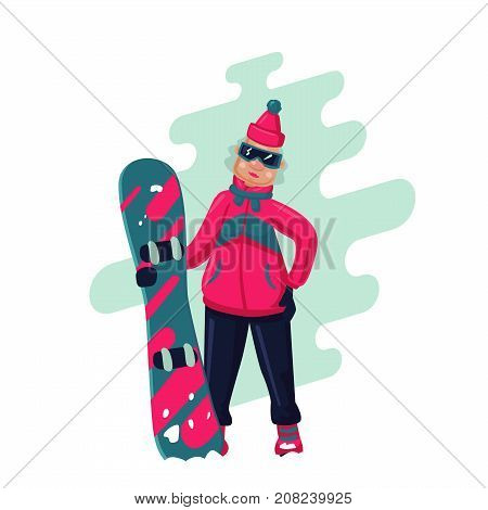 Old lady with snowboard. Isolated cartoon illustration.