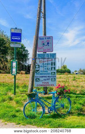 Various Signs In The Village Saint-pierre-en-port