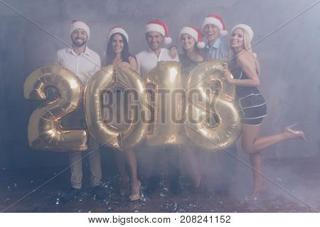 Full Size Of Six Chilling Group Of Jet Set In Nice Outfits, Shirts, X Mas Headwear, Laughing, Cheerf