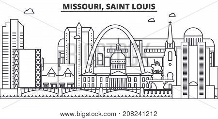 Missouri, Saint Louis architecture line skyline illustration. Linear vector cityscape with famous landmarks, city sights, design icons. Editable strokes