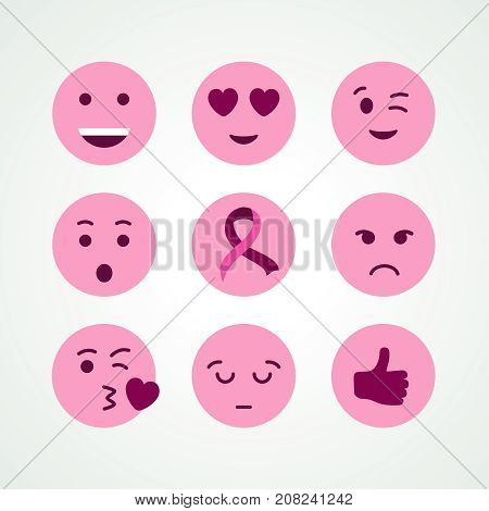 Breast Cancer Awareness Pink Emoji Face Icon Set