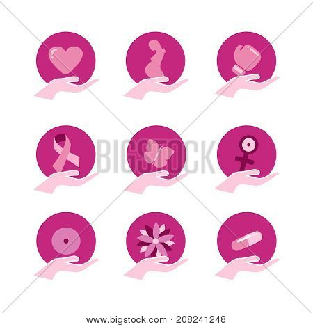 Breast Cancer Awareness Pink Support Icon Set