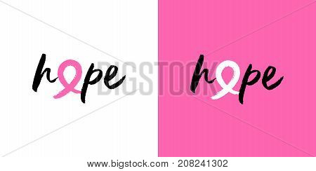 Breast Cancer Awareness Hope Pink Ribbon Quote