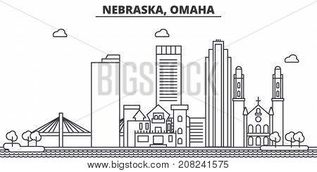 Nebraska, Omaha architecture line skyline illustration. Linear vector cityscape with famous landmarks, city sights, design icons. Editable strokes