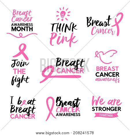 Pink Breast Cancer Awareness Ribbon Text Quote Set