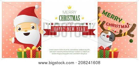 Merry Christmas and Happy New Year background with Santa Claus and cat wearing reindeer costume , vector , illustration