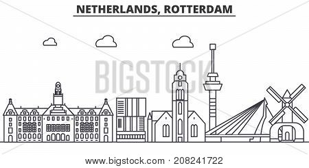 Netherlands, Rotterdam architecture line skyline illustration. Linear vector cityscape with famous landmarks, city sights, design icons. Editable strokes