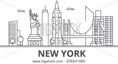 New York architecture line skyline illustration. Linear vector cityscape with famous landmarks, city sights, design icons. Editable strokes