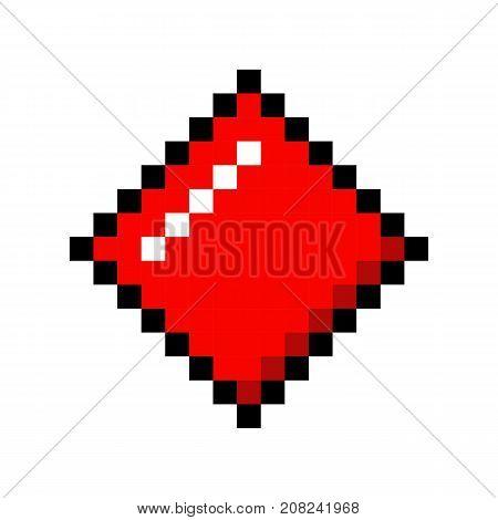 Playing pixel cards poker gambling cartoon retro game style set