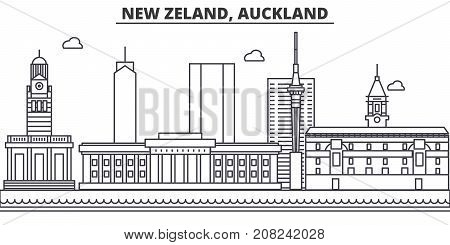 New Zeland, Auckland architecture line skyline illustration. Linear vector cityscape with famous landmarks, city sights, design icons. Editable strokes