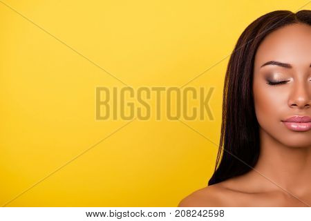 Gogreous, Charming, Pretty, Hot Nude Half Face Cropped Portrait Of Afro Brunette Lady With  Attracti