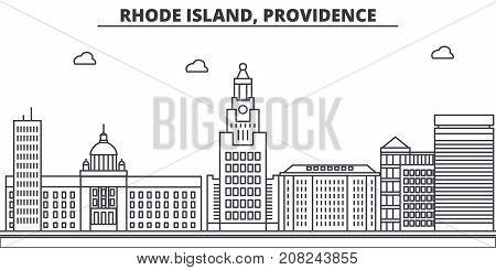 Rhode Island, Providence architecture line skyline illustration. Linear vector cityscape with famous landmarks, city sights, design icons. Editable strokes