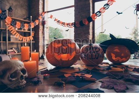 Preparation For  All Hallows Eve, Cutted Pumpkins In Headwear Of Witch Wizaerd, Frightening Eyes And