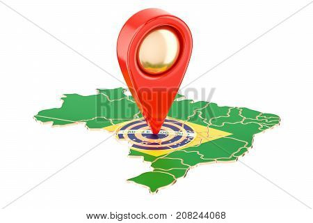 Map pointer on the map of Brazil 3D rendering isolated on white background