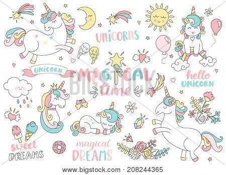 Set of unicorns and different magic elements with some lettering. Vector illustration.