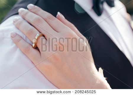 The bride is waiting for the groom. Wedding bouquet in bride's hands