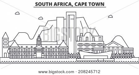 South Africa, Cape Town architecture line skyline illustration. Linear vector cityscape with famous landmarks, city sights, design icons. Editable strokes