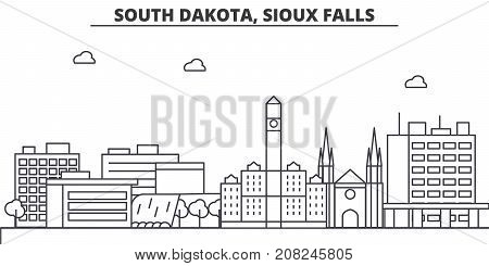 South Dakota, Sioux Falls architecture line skyline illustration. Linear vector cityscape with famous landmarks, city sights, design icons. Editable strokes
