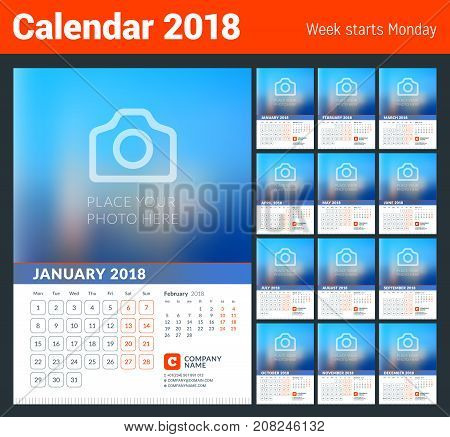 Wall Calendar for 2018 Year. Vector Print Template with Place for Photo. Week Starts on Monday. 2 Months on Page. Set of 12 pages