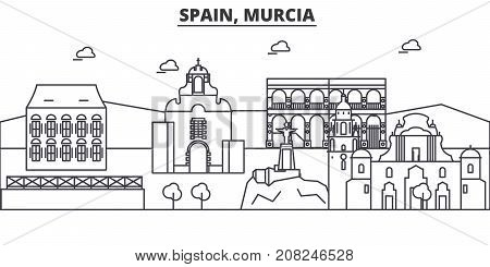 Spain, Murcia architecture line skyline illustration. Linear vector cityscape with famous landmarks, city sights, design icons. Editable strokes poster