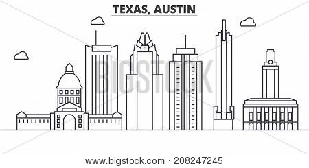 Texas Austin architecture line skyline illustration. Linear vector cityscape with famous landmarks, city sights, design icons. Editable strokes