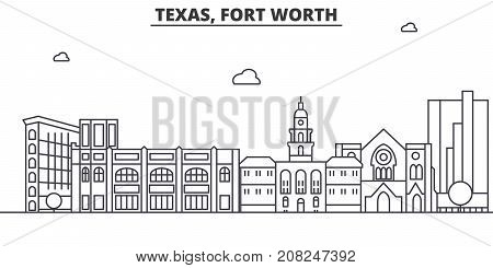 Texas Fort Worth architecture line skyline illustration. Linear vector cityscape with famous landmarks, city sights, design icons. Editable strokes