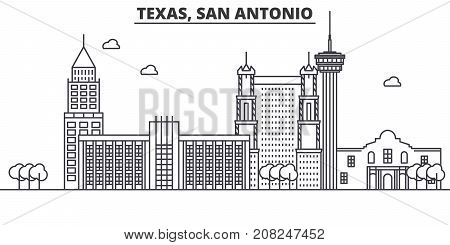 Texas San Antonio architecture line skyline illustration. Linear vector cityscape with famous landmarks, city sights, design icons. Editable strokes