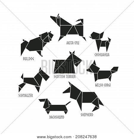Origami dogs icon set. Abstract black  pet dog breed sign silhouette isolated on white. Freehand drawn cut out paper puppy dogs emblem. Template geometric logo design. Vector  pets symbol illustration