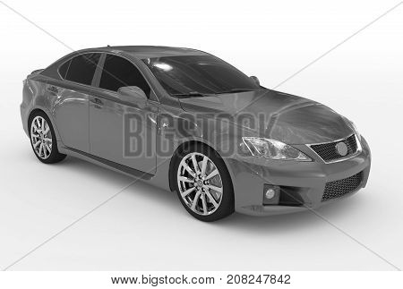 Car Isolated On White - Gray Paint, Tinted Glass - Front-right Side View