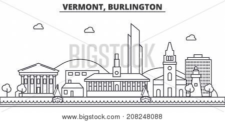 Vermont, Burlington architecture line skyline illustration. Linear vector cityscape with famous landmarks, city sights, design icons. Editable strokes