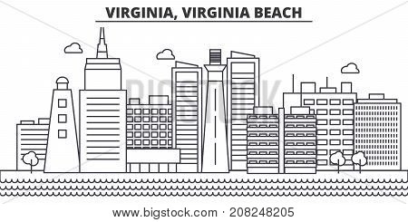 Virginia, Virginia Beach architecture line skyline illustration. Linear vector cityscape with famous landmarks, city sights, design icons. Editable strokes