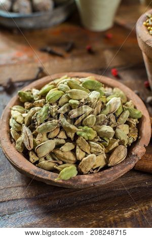 Most Expensive Spice In The World – Dried Green Cardamom Pods With Black Seeds, Used As An Ingredien