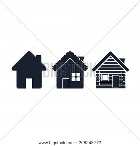 House flat icon set. Wooden house icon. Timbered and wood home illustration. Rural or country home sign. Village house icon. Vector isolated illustration.