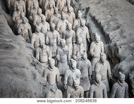 Xian, China - October 4, 2017: Terracotta Army Warriors. Three Pits Contain More Than 8000 Soldiers,