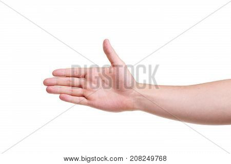 A male hand symbolizes five on the left side isolated on a white background. Close-up.