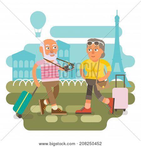 50 plus couple traveling together on vacation holidays and enjoying life