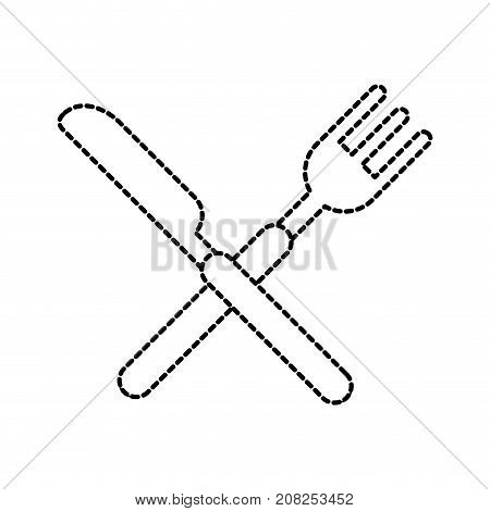 crossed fork and knife cutlery silverware kitchen restaurant vector illustration
