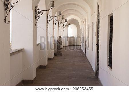 Hallway with arcs photo. Palanok castle. Mukachevo, Ukraine,  April 2, 2017