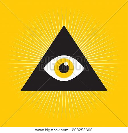 Eye Of Providence. Masonic symbol. Symbol Omniscience. All seeing eye inside triangle pyramid. vector illustration