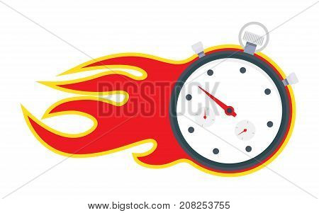 Stopwatch with fire time is running out vector illustration