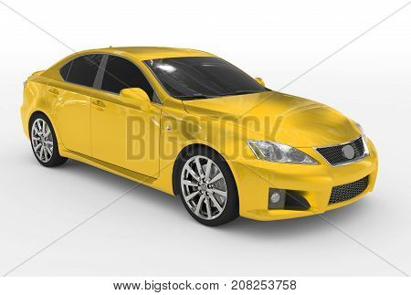 Car Isolated On White - Yellow Paint, Tinted Glass - Front-right Side View