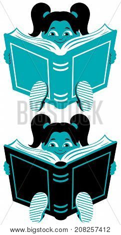 Illustration of little girl reading book in 2 color versions.